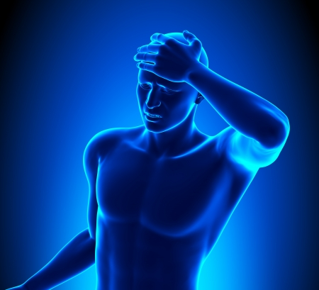 Head pain - front view Stock Photo - 19244748