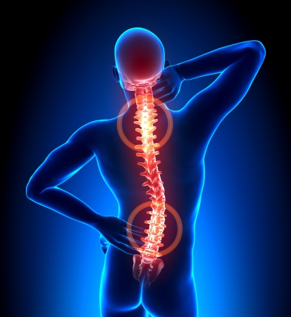 neck pain: Male Hurt Backbone - Vertebrae Pain Stock Photo