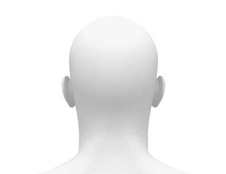Male Head Face - Back view Stock Photo