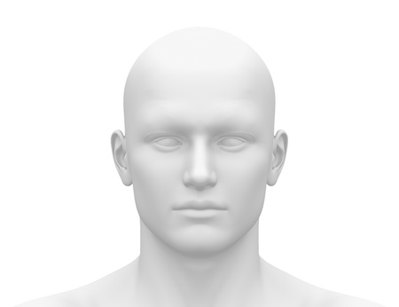 human head: Male Head Face - Front view Stock Photo