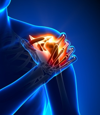 foot pain: Shoulder pain - detail Stock Photo