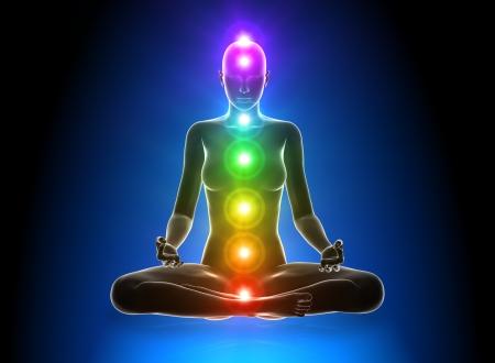 energy healing: Meditazione - Chakra Archivio Fotografico