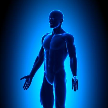 Isometrische Man Figuur Medisch Positie