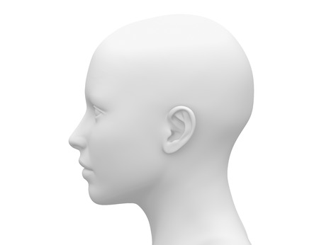 front side: Blank White Female Head - Side view