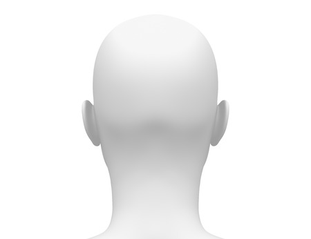 back  view: Blank White Female Head - Back view