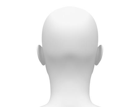 mannequin: Vue de l'arrière - blanc blanc Tête de femme