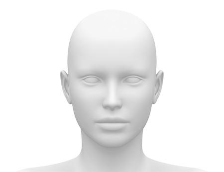 빈 흰색 여성 헤드 - 전면보기 스톡 콘텐츠