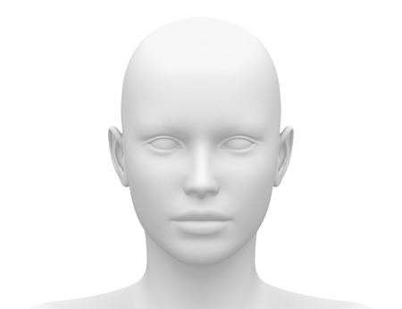 front of: Blank White Female Head - Front view
