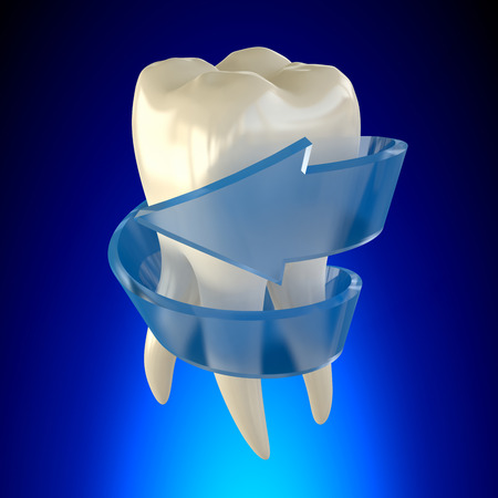 Fresh Repaired Tooth Molar Healthy on blue background