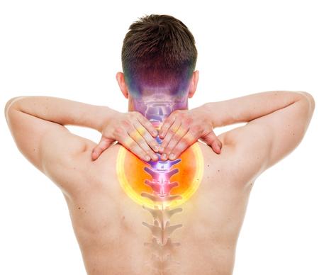 anatomía: Dolor de cuello - Hombre Hurt columna cervical aislado en blanco - concepto de Anatomía VERDADERO
