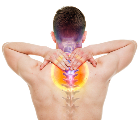highlighted hair: NECK Pain - Male Hurt Cervical Spine isolated on white - REAL Anatomy concept