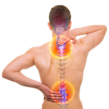 ache: SPINE Pain - Male Hurt Backbone isolated on white - REAL Anatomy concept Stock Photo