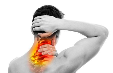 Nackenschmerzen - Männliche Anatomie Sportler Halten Kopf- und Hals - Halswirbelsäule Area - isoliert auf weiß Standard-Bild - 50908872