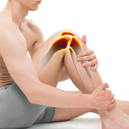 anatomy leg: Young Man Knee Pain Anatomy isolated on white Stock Photo