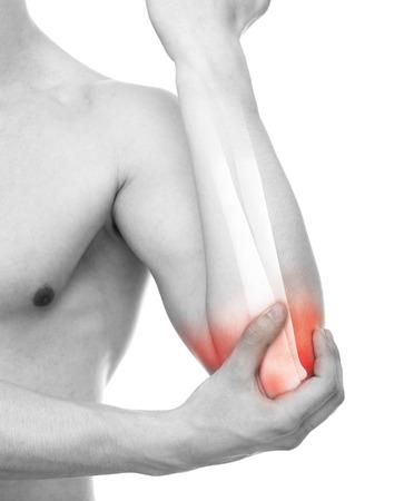 Elbow Injury - Studio shot with 3D illustration isolated on white