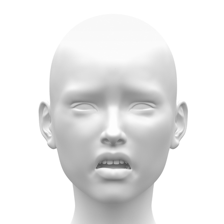 Blank White Female Sad Face Emotion - Front view
