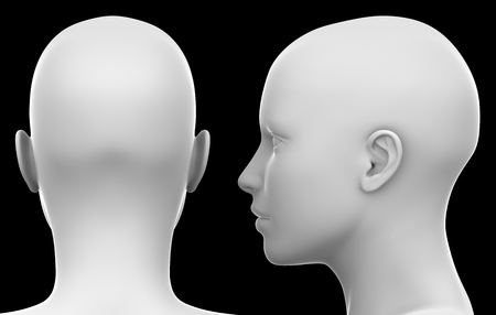 Blank White Female Head - Side and Back view isolated on Black 3D illustration