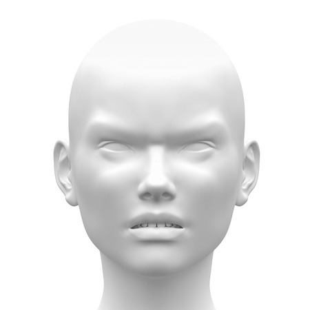 Blank White Female Angry Face Emotion - Front view