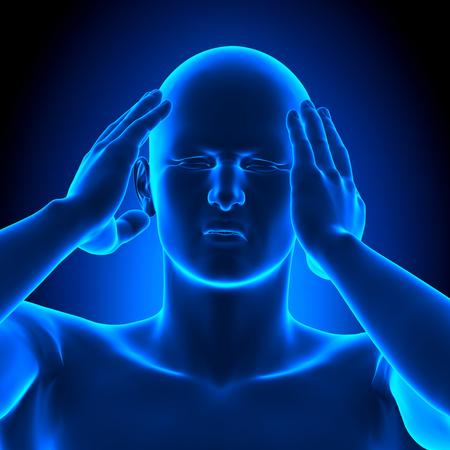 mature men: Holding Head Pain Man - 3D illustration