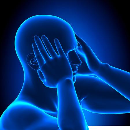 Holding Head Pain Man - 3D illustration