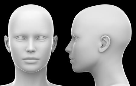 Leeg Wit Vrouwelijk Hoofd - Zij- en Vooraanzicht geïsoleerd op zwarte 3D-illustratie Stockfoto