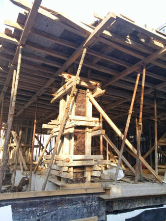 substructure: wooden formwork and apparatus Stock Photo