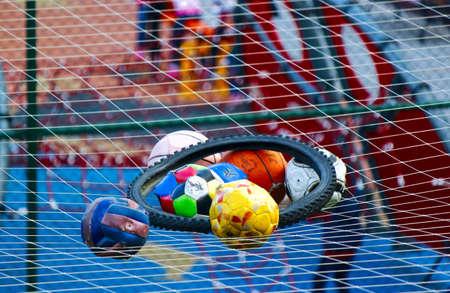 erupt: colorful erupt balls remaining on the net