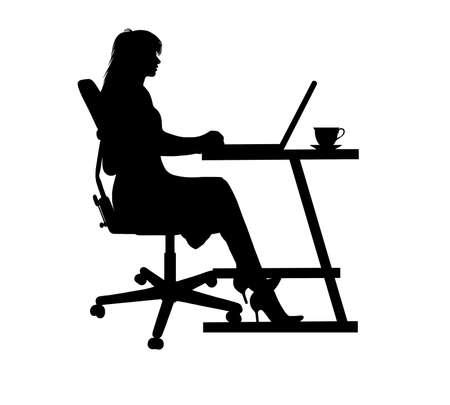 computer table: silhouette of a woman typing at a laptop