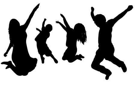 black silhouette of a jumping family Çizim
