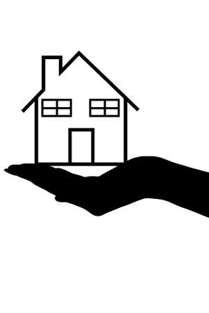 holding arm: hand silhouette holding a house isolated on white