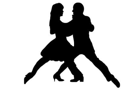 Black tango dance couple silhouette Vectores