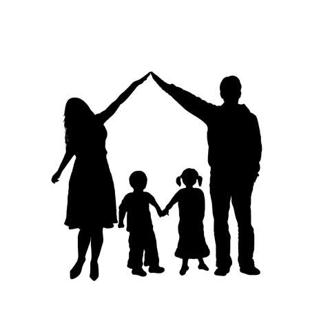 caring family silhouette isolated on white background