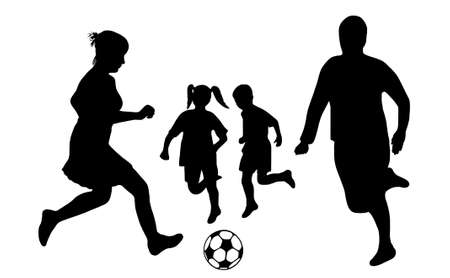 kids football: family soccer silhouette isolated on white