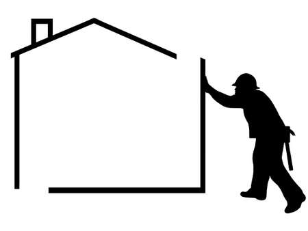 repair man: silhouette of a man building a house