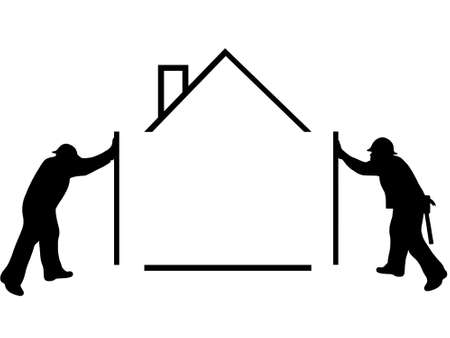 Silhouette of men building a house