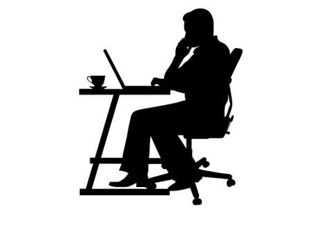 company profile: silhouette of a man typing at a laptop