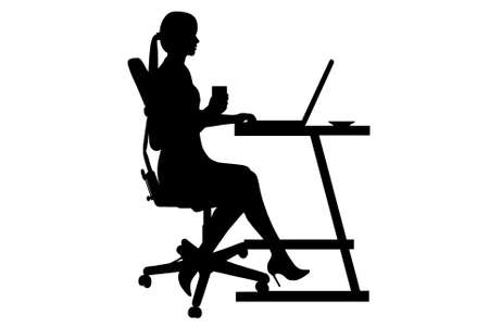 laptop silhouette: businesswoman silhouette isolated on white background