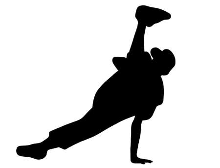 Silhouette of hip hop dancer over a white background Stock Vector - 8383302