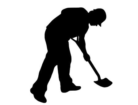 dug: worker with shovel silhouette