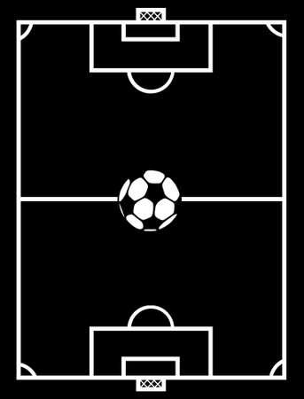 soccer field: black and white soccer field