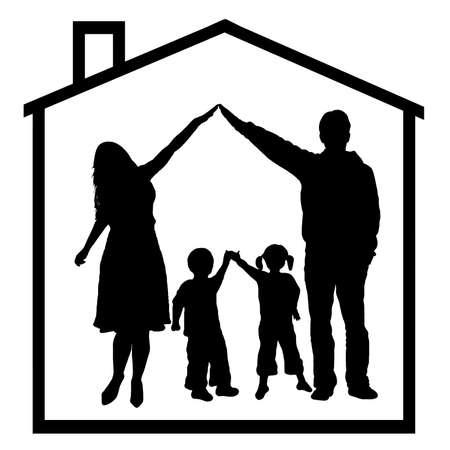 droomhuis: familie in droom huis geïsoleerd op wit Stock Illustratie