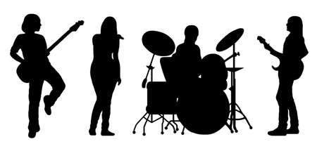 cantando: silueta de banda de canto aislado en blanco Vectores