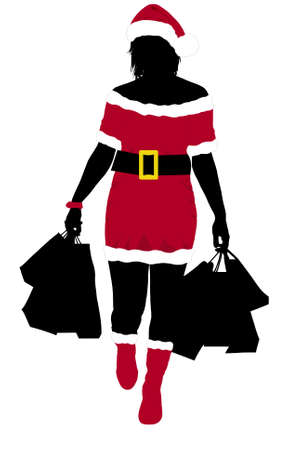 Christmas girl silhouette with bags Vector