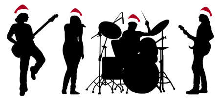 Singing band silhouette isolated on white Stock Vector - 8383322