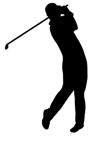 isolated: golfer silhouette