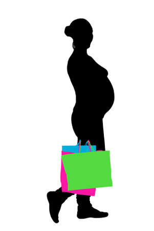 pregnant woman shopping silhouette isolated on white Vector