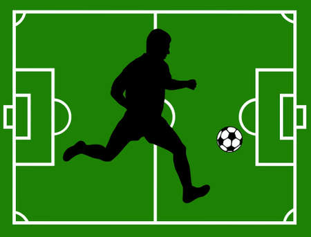 Silhouette of a soccer player with field in background Vector