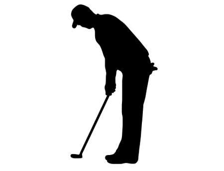golfer silhouette isolated on white Vectores