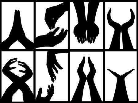 feminine hands: hands signs silhouette isolated on white