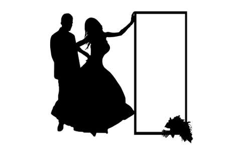 wedding couple silhouette isolated on white Vector